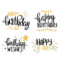 happy birthday hand lettering set vector image