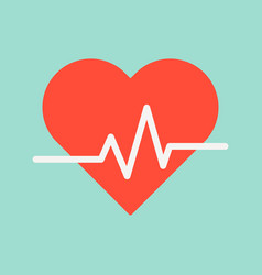 Heart signal medical and hospital related flat vector