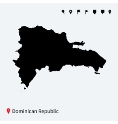 High detailed map of Dominican Republic with pins vector image