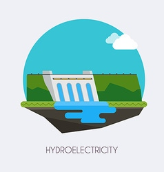 Hydroelectric power station landscape and vector