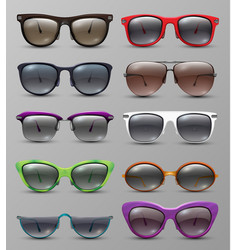 Isolated realistic sun glasses with color lens vector