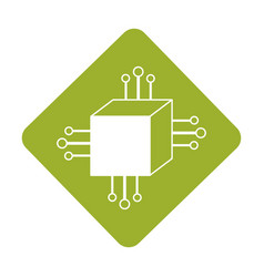 label square digital connections with circuits vector image