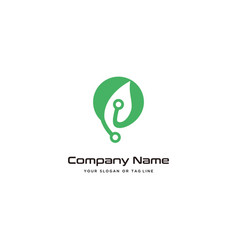 Leaves modern logo design technology template vector