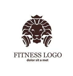 Lion Sport Fitness Logo Template vector image