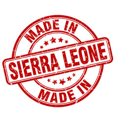 made in sierra leone red grunge round stamp vector image