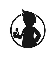 Man silhouette making approving thumbs up sign vector