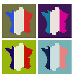Map of france with flag isolated 3d isometric vector