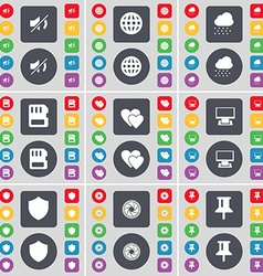 Mute globe cloud sim card heart monitor badge lens vector