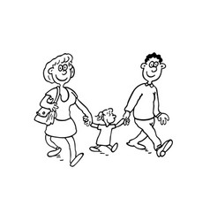 Parents with children outlined cartoon hand drawn vector