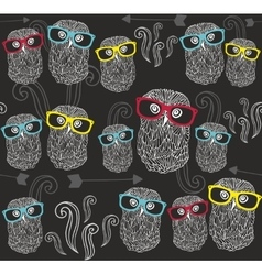 Party seamless pattern with cute owls in colorful vector