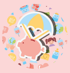 Piggy bank with parachute cartoon charity image vector