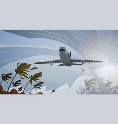plane fly over swirling tornado in sky aircraft vector image