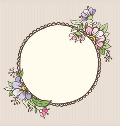 postcards doodle oval with flowers vector image