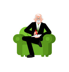 psychologist in chair writes consultation of vector image
