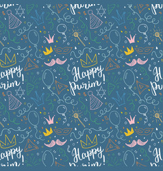 purim seamless pattern traditional jewish holiday vector image