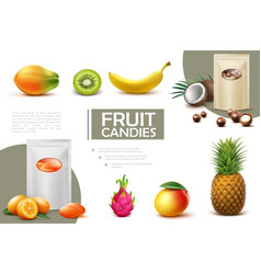 realistic sweet fruit candies composition vector image