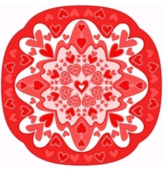 red abstract Zentangle heart mandala vector image vector image