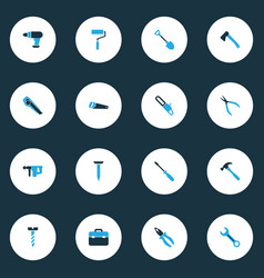 repair colorful icons set with digging axe tool vector image