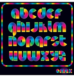 Retro neon alphabet vector