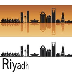 Riyadh skyline in orange background vector