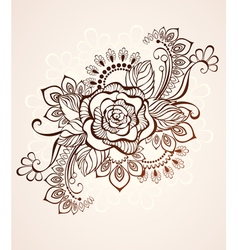 Rose Painted with Henna vector
