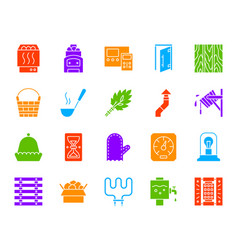 Sauna equipment color silhouette icons set vector