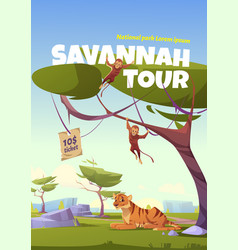 Savannah tour cartoon poster zoo park invitation vector