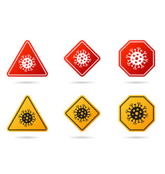 set coronavirus road sign corona virus vector image