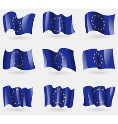 Set of European Union flags in the air vector