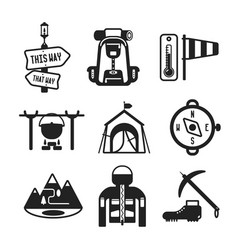 Set of monochrome hiking icons in flat style vector