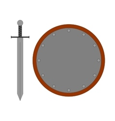 Set round shield sword silver 2807 vector image vector image