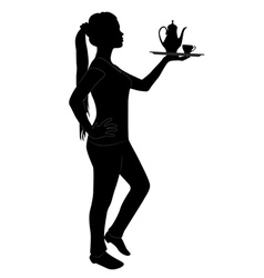 Silhouette of waitress vector