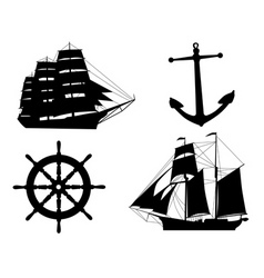 silhouettes of sailboats anchors and steering whee vector image