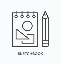 Sketchbook flat line icon outline vector