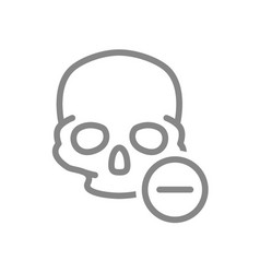 skull with minus line icon bone structure the vector image