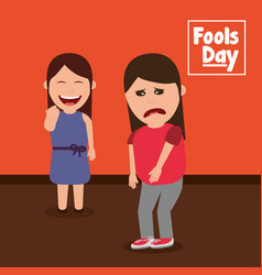 Smiling woman pointing a sad friend fools day vector