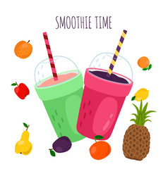 smoothie and fruits vector image