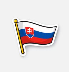 Sticker flag slovakia on flagstaff vector