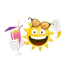Summer cartoon smiley sun vector
