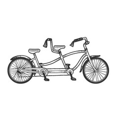 tandem bicycle sketch engraving vector image