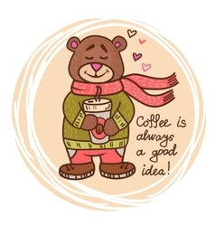 teddy bear with coffee vector image