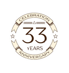 Thirty three years anniversary celebration logo vector