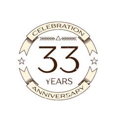 thirty three years anniversary celebration logo vector image