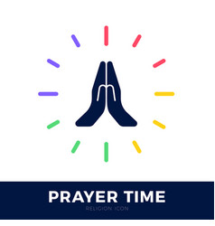 Time to pray logo praying hands icon with clock vector