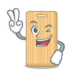 Two finger wooden cutting board character cartoon vector