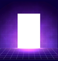 vaporwave background with laser grid white glow vector image