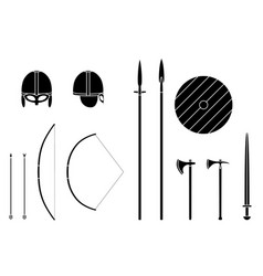 viking weapons and armors set viking warrior vector image