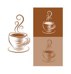 Vintage coffee cup logo vector