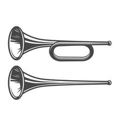 Vintage medieval trumpets template vector