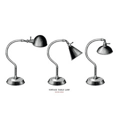 vintage table lamp collection hand draw vintage vector image